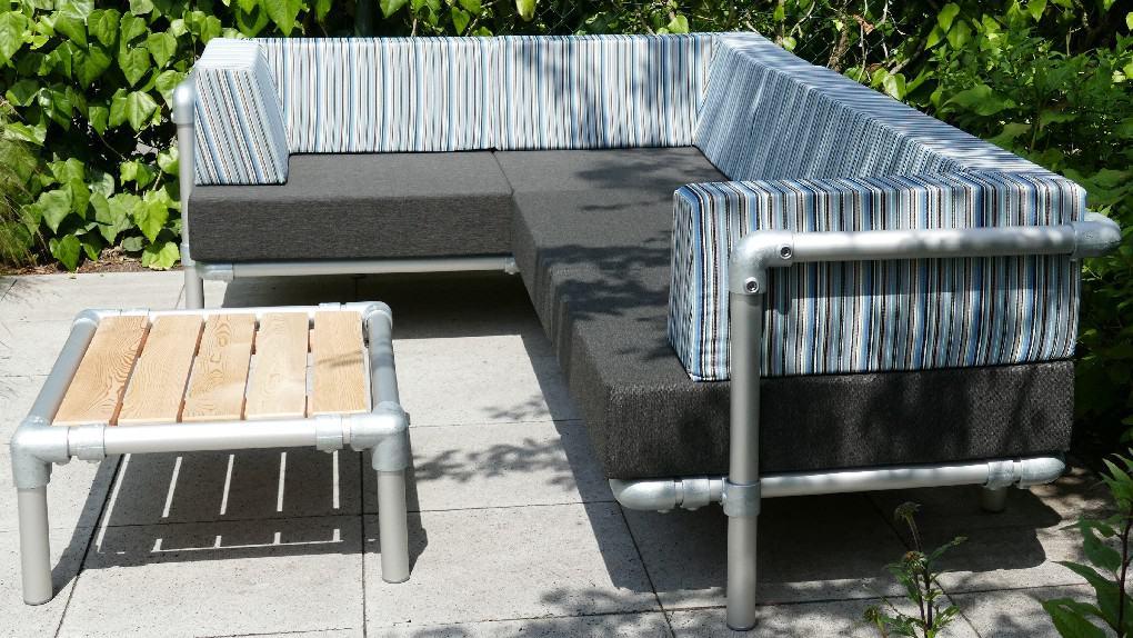 hoekbank tuin zijn steigerbuizen meubels